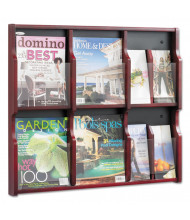 "Safco Expose 26"" 18-Pocket Magazine and Pamphlet Display, Mahogany"