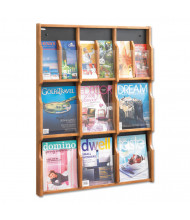 "Safco 38"" 9-Pocket Magazine and Pamphlet Display, Medium Oak"