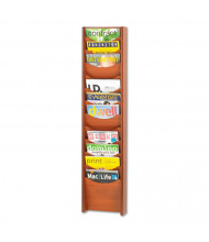 "Safco 48"" H 12-Pocket Solid Wood Wall-Mount Literature Display Rack, Cherry"