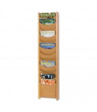 "Safco 48"" H 12-Pocket Solid Wood Wall-Mount Literature Display Rack, Medium Oak"