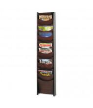 "Safco 48"" H 12-Pocket Solid Wood Wall-Mount Literature Display Rack, Mahogany"