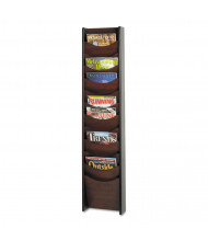 "Safco 48"" H 12-Pocket Solid Wood Wall-Mount Literature Display Racks (Shown in Mahogany)"