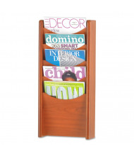 "Safco 24"" H 5-Pocket Solid Wood Wall-Mount Literature Display Rack, Cherry"