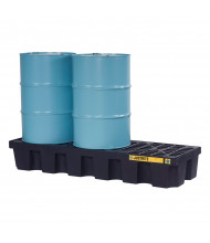 "Just-Rite Ecopolyblend 3-Drum 73"" W x 25"" L Spill Control Pallets (in black, shown with 55 gallon drums)"
