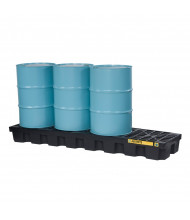 "Just-Rite Ecopolyblend 4-Drum In-Line 97"" W x 25"" L Spill Control Pallets (in black shown with 55 gallon drums)"