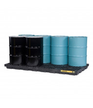 "Just-Rite Ecopolyblend 28661 8-Drum 97"" W x 49"" L Accumulation Center, 98 Gallons, Black"