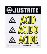 Just-Rite Haz-Alert 29008 Acid Small Warning Label for Safety Cabinet