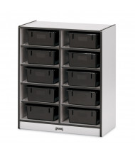 Jonti-Craft Rainbow Accents 10 Tub Mobile Classroom Storage (Shown in Black, Tubs Sold Separately)