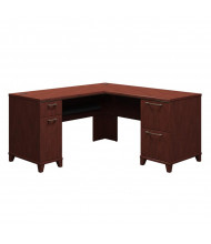 "Bush Enterprise 2930 60"" W L-Shaped Straight Front Double Pedestal Office Desk, Right Return (harvest cherry)"