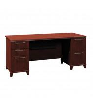"Bush Enterprise 2972 72"" W Straight Front Double Pedestal Office Desk (Shown in Harvest Cherry)"