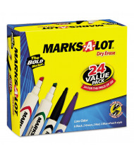 Marks-A-Lot Desk/Pen Dry Erase Marker, Chisel Tip, Assorted, 24-Pack