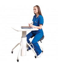 """RightAngle VerSIT 26"""" - 30"""" H Gas Lift Height Adjustable Laptop Table Workstation with Saddle Seat VS2730 (Shown in White / Silver)"""