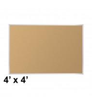 Best-Rite Valu-Tak Natural Cork 4 x 4 Aluminum Trim Bulletin Board