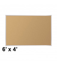 Best-Rite Valu-Tak Natural Cork 6 x 4 Aluminum Trim Bulletin Board