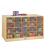 Jonti-Craft Double-Sided Single & 20 Cubbie-Tray Island Classroom Storage Unit with Clear Trays
