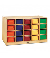 Jonti-Craft Double-Sided Single & 20 Cubbie-Tray Island Classroom Storage Unit with Colored Trays