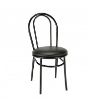 KFI Seating 3210-SB Rounded-Back Vinyl Cafe Chair (Shown in Black Ebony)