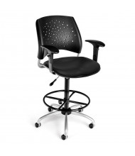 OFM Stars 326-V-AA3DK Anti-Microbial Plastic-Back Vinyl Drafting Chair, Footring (Shown in Black)