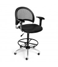 OFM Moon 336-V-AA3DK Anti-Microbial Mesh-Back Vinyl Drafting Chair, Footring (Shown in Black)