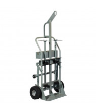 "Justrite 600 lb Hoist Ring Tool Tray Double Cylinder Hand Truck, 10.5"" Pneumatic & Rear Casters"