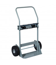 "Justrite 700 lb Double Cylinder Hand Truck, 10"" Flat-Free Wheels"