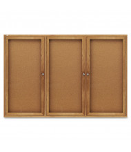 Quartet 367 Indoor 3 Door 6 ft x 4 ft. Oak Frame Enclosed Cork Bulletin Board