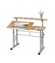 "Safco 3965MO 47.25"" W x 29.75"" D Adjustable Height Split-Level Drafting Table (example of use)"