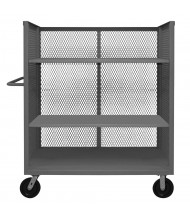 Durham Steel 2000 lb 3-Sided Mesh Steel Stock Carts (Shown with optional shelves)