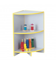 Jonti-Craft Rainbow Accents Low Outside Corner Classroom Storage (in yellow, example of use)