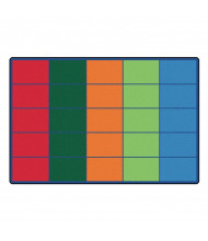 Carpets for Kids Colorful Rows Seating Rectangle Classroom Rug (Shown with 25 Spaces)