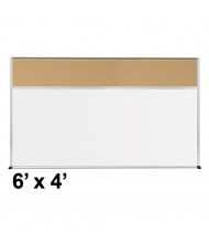 Best-Rite Style-C 6 x 4 Tackboard and Porcelain Magnetic Combination Whiteboard (Shown in Natural Cork)