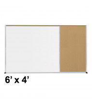Best-Rite Style-E 6 x 4 Tackboard and Porcelain Magnetic Combination Whiteboard (Shown in Natural Cork)