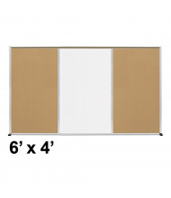 Best-Rite Style-F 6 x 4 Tackboard and Porcelain Magnetic Combination Whiteboard (Shown in Natural Cork)