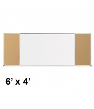 Best-Rite 406-70-PM-X2 Style-F 6 ft. x 4 ft. Tackboard and Porcelain Magnetic Combination Whiteboard