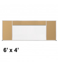 Best-Rite 406-90-PM-X2 Style-H 6 ft. x 4 ft. Tackboard and Porcelain Magnetic Combination Whiteboard