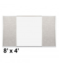 Best-Rite Style-F 8 x 4 Combo-Rite Tackboard and Porcelain Magnetic Combination Whiteboard (Shown in Sterling)