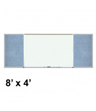 Best-Rite 408-7C-PM-X2 Style-F 8 ft. x 4 ft. Combo-Rite Tackboard and Porcelain Magnetic Combination Whiteboard (in pacific blue)