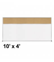 Best-Rite Style-C 10 x 4 Tackboard and Porcelain Magnetic Combination Whiteboard (Shown in Natural Cork)