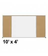 Best-Rite Style-F 10 x 4 Tackboard and Porcelain Magnetic Combination Whiteboard (Shown in Natural Cork)