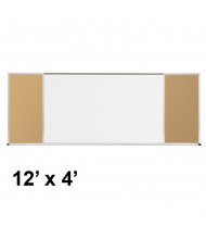 Best-Rite 412-70-PM-X2 Style-F 12 ft. x 4 ft. Tackboard and Porcelain Magnetic Combination Whiteboard