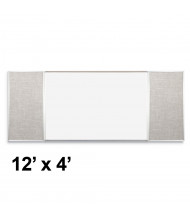 Best-Rite Style-F 12 x 4 Combo-Rite Tackboard and Porcelain Magnetic Combination Whiteboard (Shown in Sterling)
