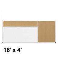 Best-Rite Style-D 16 x 4 Tackboard and Porcelain Magnetic Combination Whiteboard (Shown in Natural Cork)