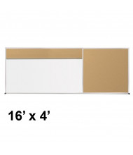 Best-Rite 416-40-PM-X2 Style-D 16 ft. x 4 ft. Tackboard and Porcelain Magnetic Combination Whiteboard