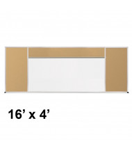 Best-Rite 416-90-PM-X2 Style-H 16 ft. x 4 ft. Tackboard and Porcelain Magnetic Combination Whiteboard