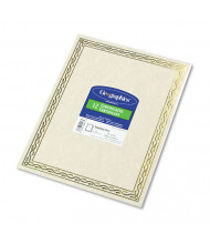 "Geographics 8-1/2"" x 11"", 24lb, 12-Sheets, Gold Serpentine Border Foil Stamped Award Certificates"