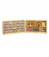 Jonti-Craft E-Z Glide 20 Cubbie-Tray Fold-n-Lock Classroom Storage Unit with Clear Trays