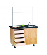 "Diversified Woodcrafts 48"" W Science Demo Mobile Lab Table with Sink & Drawers"