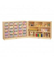 Jonti-Craft E-Z Glide 25 Cubbie-Tray Fold-n-Lock Classroom Storage Unit with Clear Trays