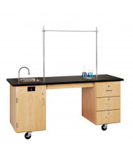 "Diversified Woodcrafts ADA 72"" W Science Demo Mobile Lab Table with Sink & Storage"