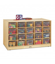 Jonti-Craft Double-Sided 40 Cubbie-Tray Island Classroom Storage Unit with Clear Trays (example of use)